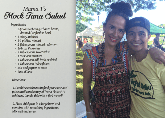 Chef Mama T Gonsalves with VegFest Oahu's Learning Kitchen Host, Jordan Ragasa.