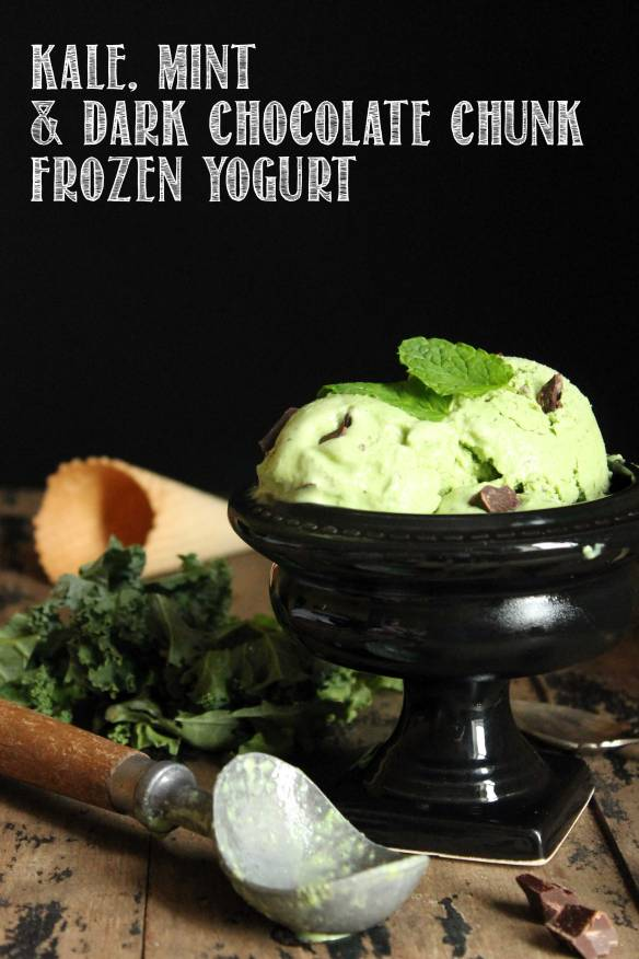 Kale Mint Chocolate Chunk Frozen Yogurt | Veggie Desserts