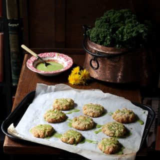 Dandelion Petal and Lemon Cookies with Kale Lemon Drizzle