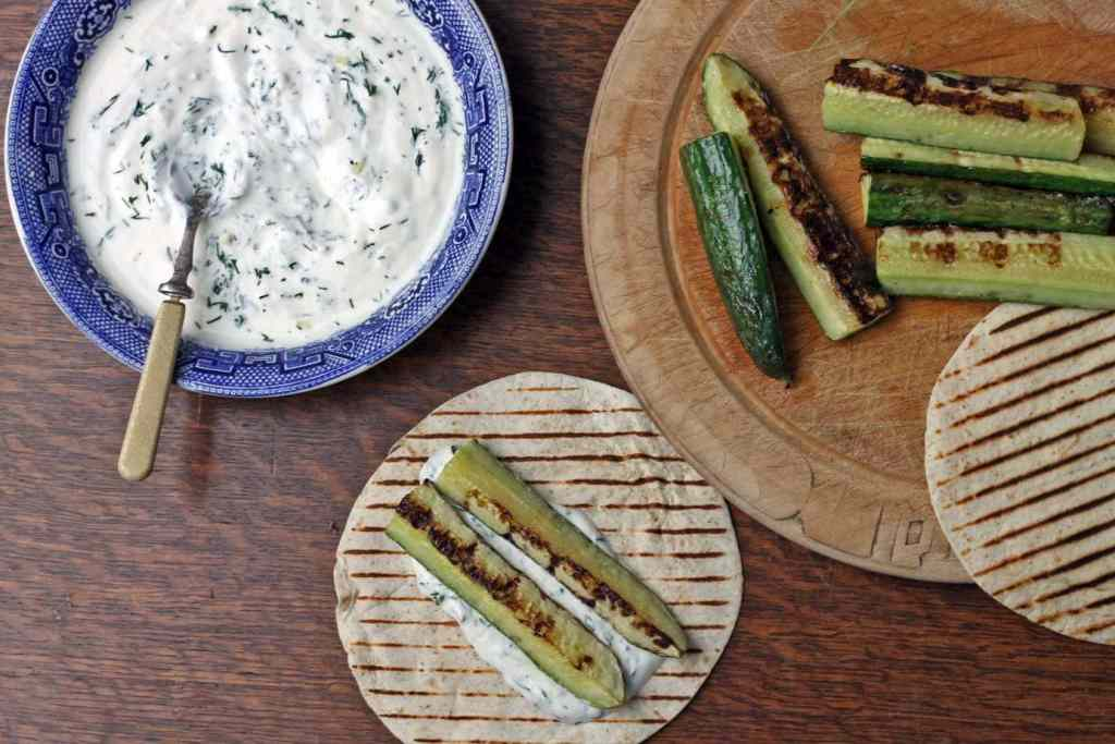 Marinated Grilled Cucumbers with Garlic Dill Dip | Veggie Desserts Blog