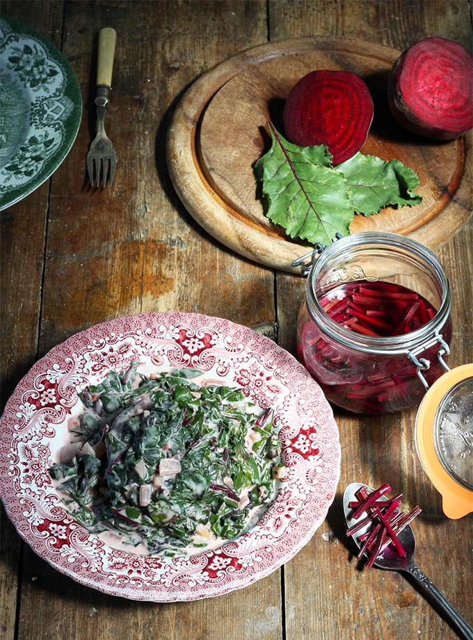 Beet Leaf Callaloo (Beet Leaves with Chilli and Coconut Milk side dish) + Quick Pickled Rosemary Beet Stems   Veggie Desserts Blog