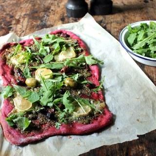 Beet Pizza with Beet Leaf Pesto