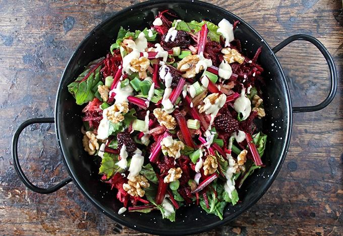 Beet, Blackberry and Apple Salad with Lemon Tahini Dressing | Veggie Desserts Blog