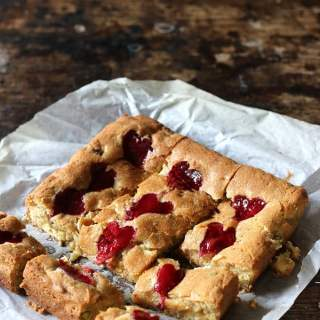 Pistachio White Chocolate Brownies with Raspberry Swirl Hearts | Veggie Desserts Blog