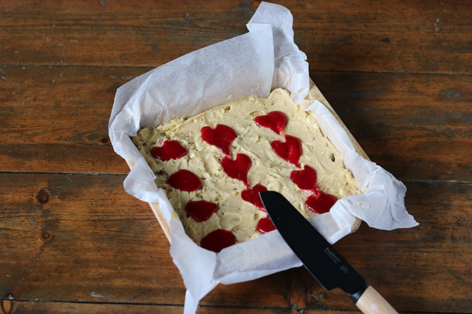 Pistachio Blondies with Raspberry Swirl Hearts | Veggie Desserts Blog