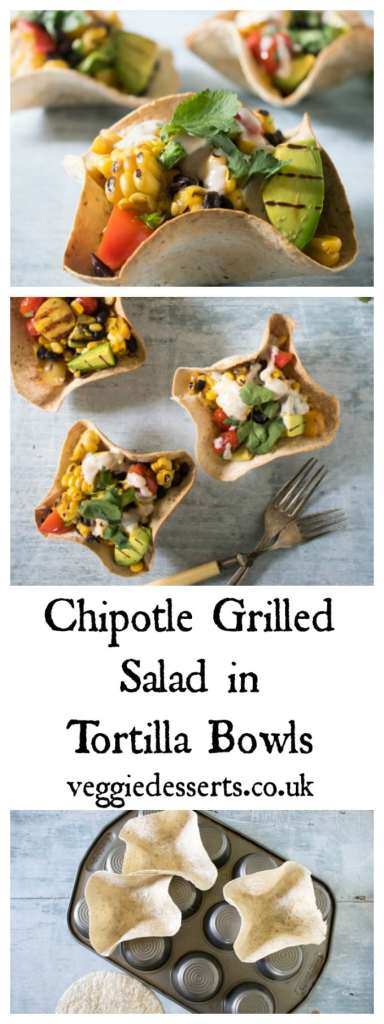 Mexican Chipotle Grilled Salad in Tortilla Bowls | Veggie Desserts Blog