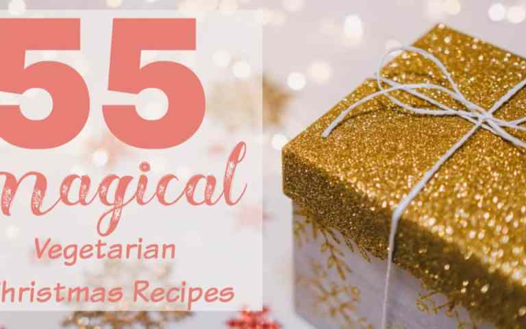 """christmas gift with text """"55 magical vegetarian Christmas recipes"""""""