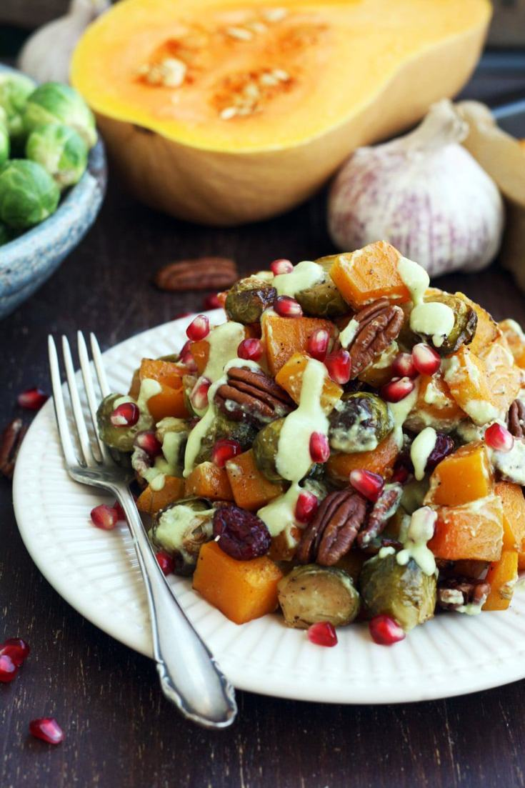 Roasted Brussels Sprouts with Butternut Squash • Happy Kitchen