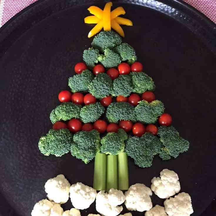 Christmas Tree Shaped Vegetable Platter Appetizer Tray