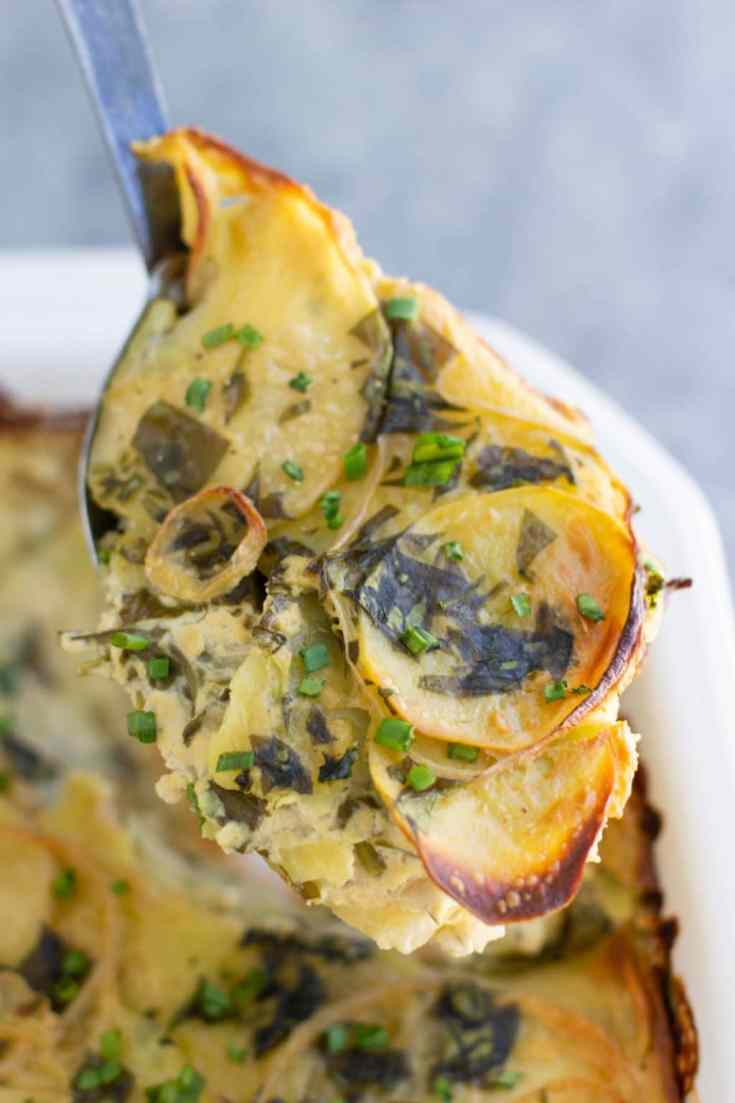 Vegan Scalloped Potatoes Florentine