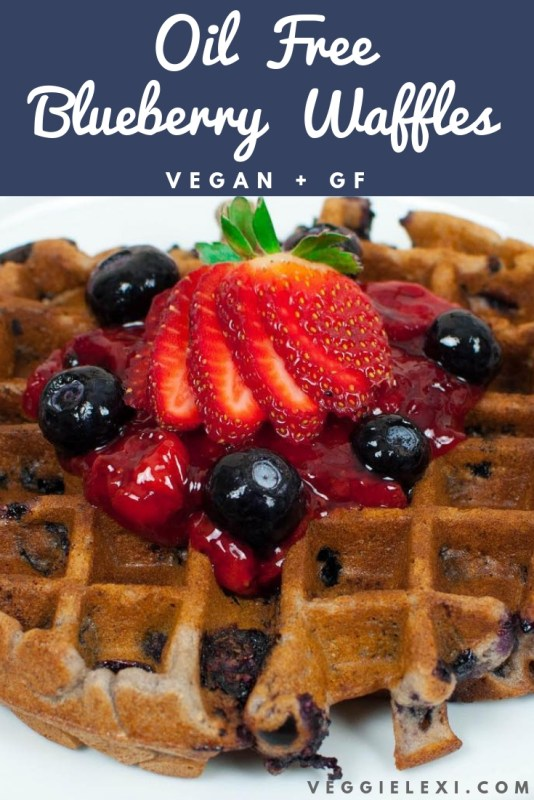 Oil Free, Gluten Free, and Vegan Blueberry Waffles with an Oil Free Strawberry Lemon Sauce - by Veggie Lexi