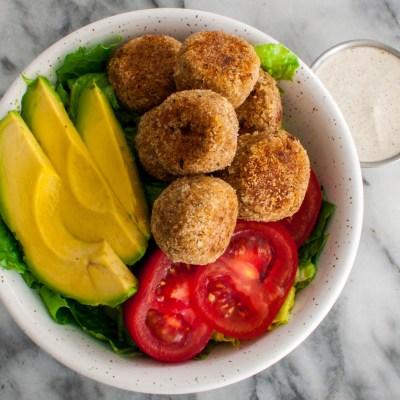 Lentil Balls Vegan Meatballs with Avocado, Lettuce, Tomato, and Creamy Vegan Dressing