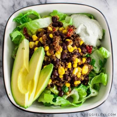 Tex-Mex Quinoa Salad with Corn, Black Beans, and Sun Dried Tomatoes