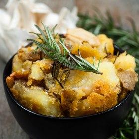 Roasted Crispy Polenta Potatoes with Garlic and Rosemary.
