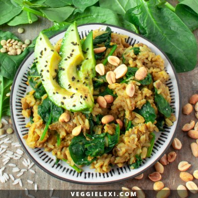 Curry Rice and Lentils with Avocado and Peanuts. This Gluten Free Vegan Dinner is Affordable and Easy - Only $0.29 a Serving! - by Veggie Lexi
