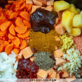 Spicy Vegan Sweet Potato Lentil Slow Cooker Soup - by Veggie Lexi