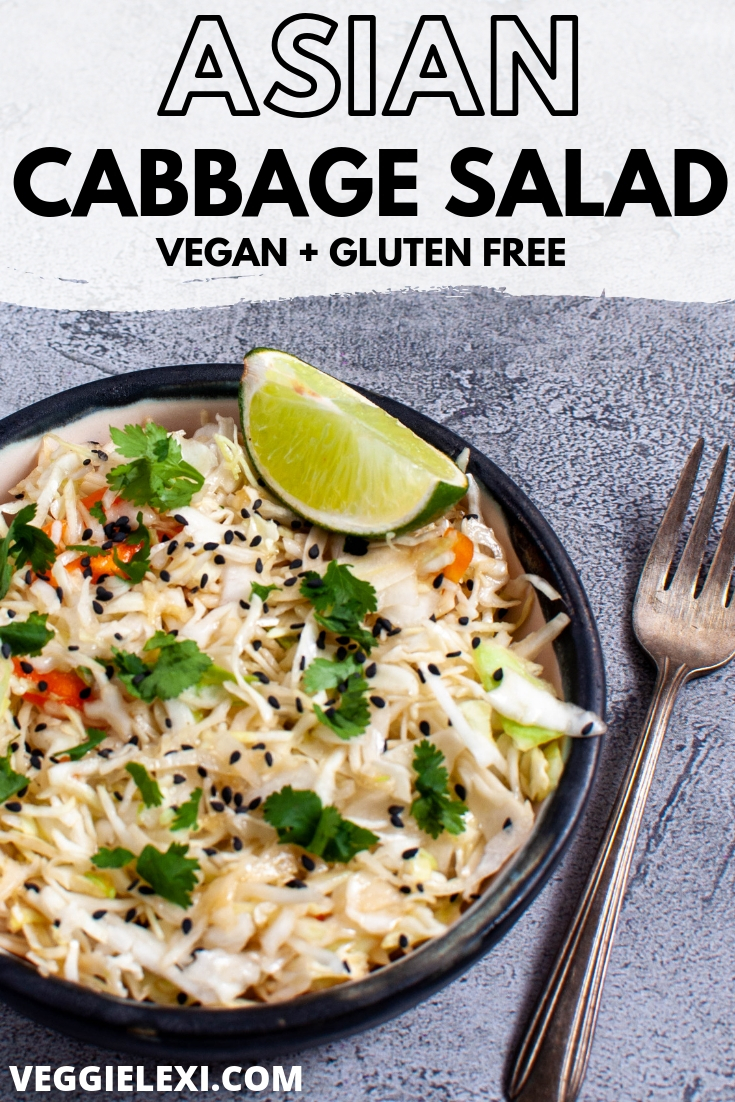 Easy, quick, and delicious Asian cabbage salad. Throw this together for a perfect side salad or as a topping for a veggie burger! #veggielexi #veganrecipes #coleslaw #veganrecipes - by Veggie Lexi