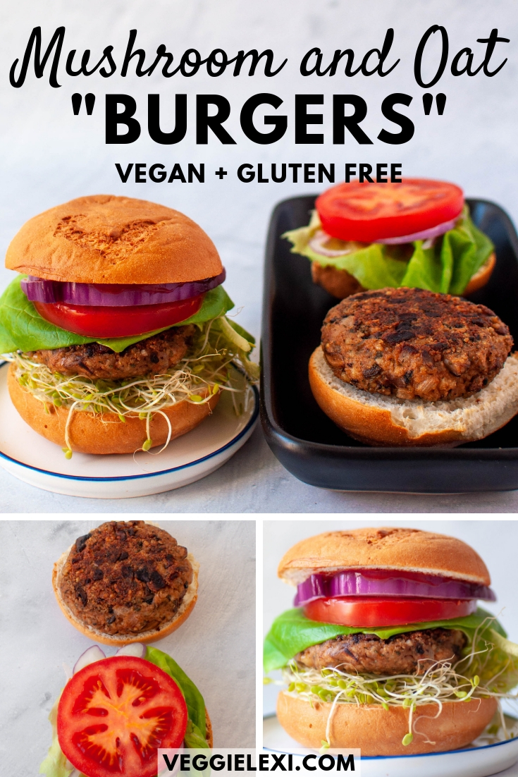 Mushroom and Oat Veggie Burgers, Vegan and Gluten Free
