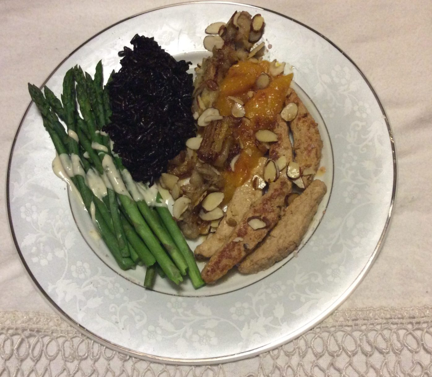 Chicken Strips with Sauteed Mangoes and Bananas, Asparagus , Almonds and Black Rice
