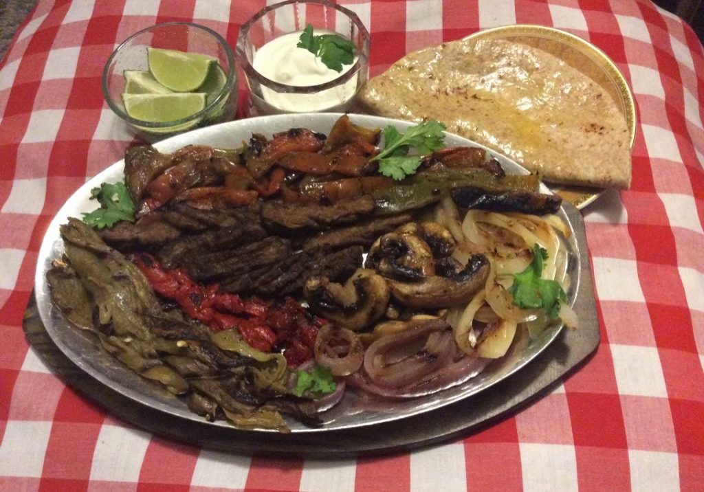 Beef Fajitas with Grilled Veggies, Sour Cream and Whole Wheat Tortillas