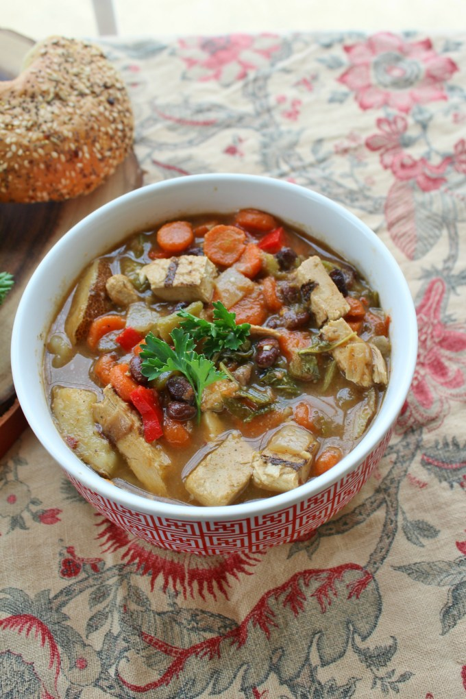 Slow Cooker Veggie Chicken Soup is a great, no fuss weeknight meal. Throw most of the ingredients into the pot in the morning, come home, add a few things, dinner is served.