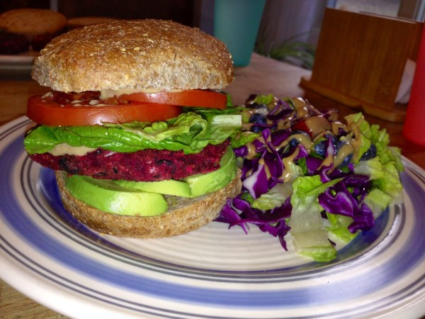 Beet burger on a bun.