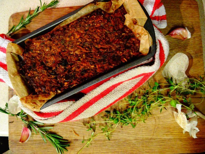 Vegan Lentil, Chestnut and Mushroom Loaf