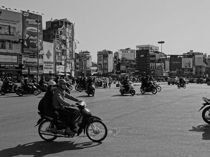 A girl on a Bike in Hanoi