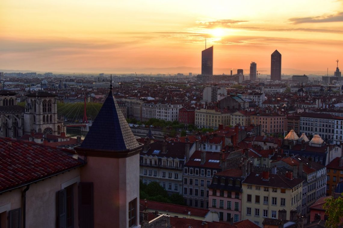 Sunset in Lyon overlooking city