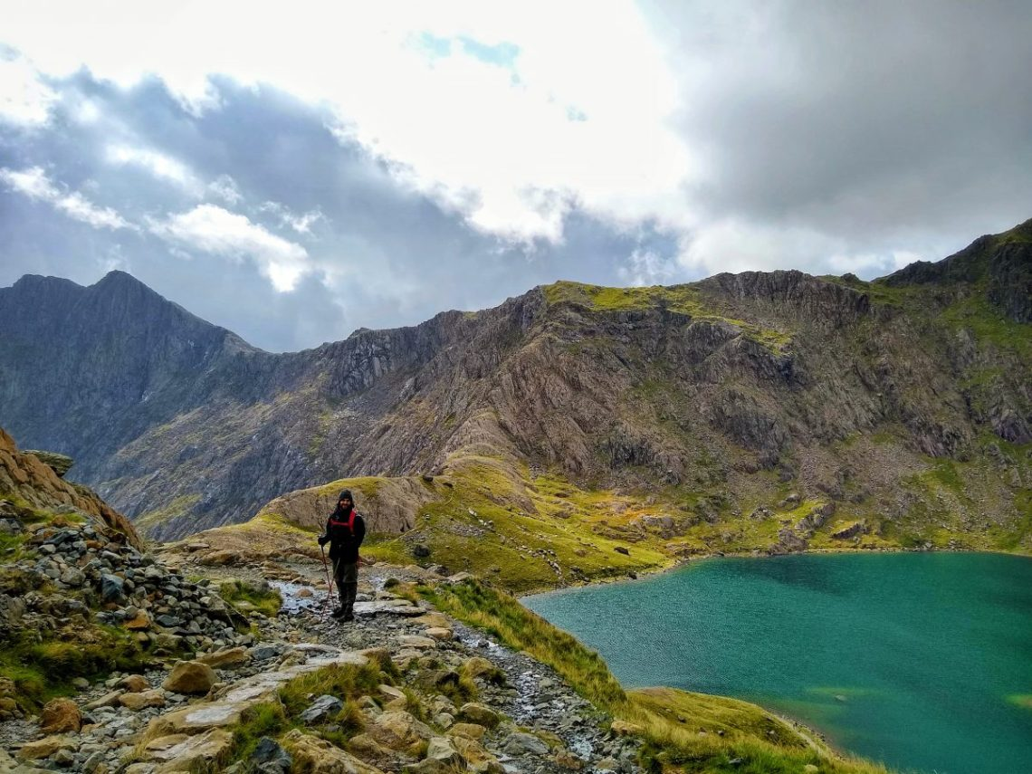 Man climbing Snowdon, Wales