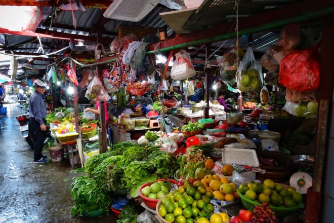 Fruit and vegetable market Hanoi Vietnam
