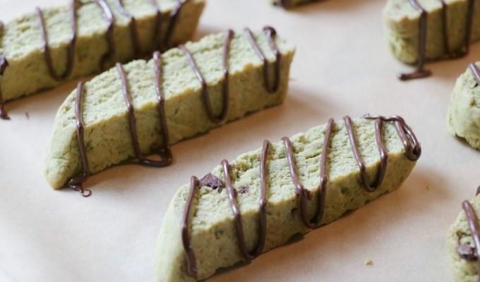 Chocolate Chip Matcha Biscotti