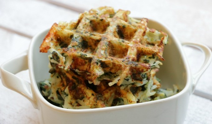 Spinach and Feta Hash Brown Waffles