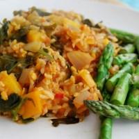 Vegan Brown Rice and Lentil 'Jambalaya' with a Rainbow of veggies!