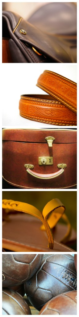 A collage of leather products including a saddle, belt, case, sandal, football.