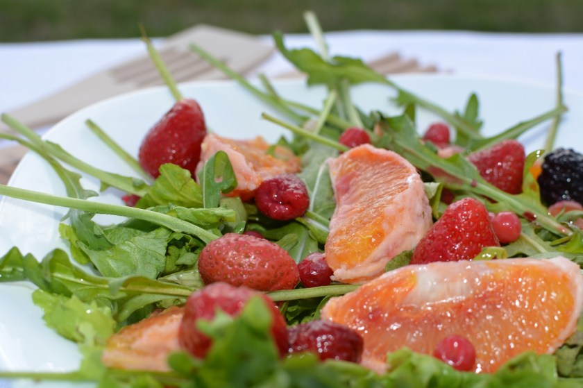 Sweet arugula salad, vegetarian recipe