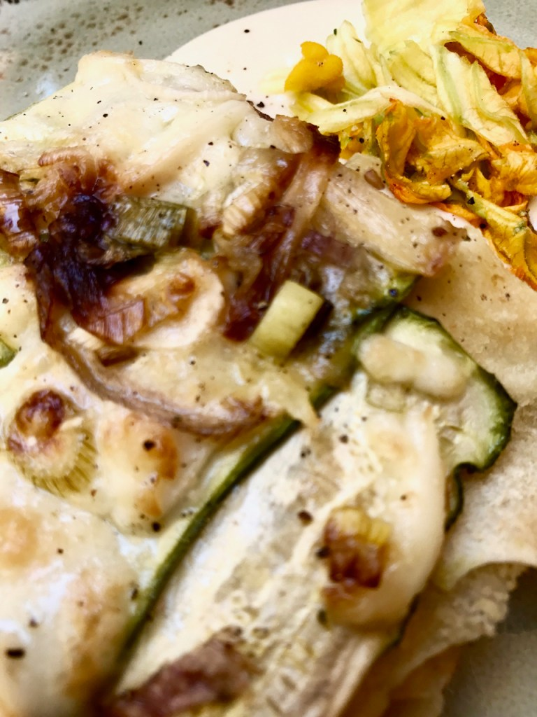vegetarian lasagna with zucchini flowers @bologna, italy veglibrary