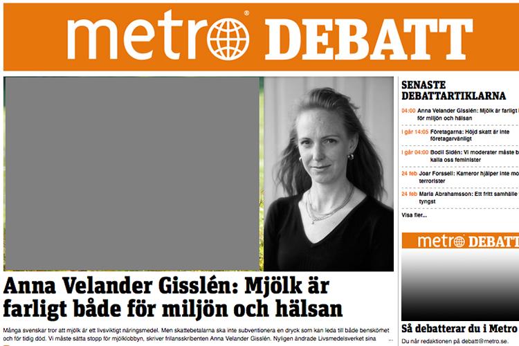Skärmdump från Metro Debatt