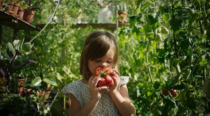 Flicka i ett trädgårdslandskap, grönska runtomkring henne, luktar på en stor, röd paprika.