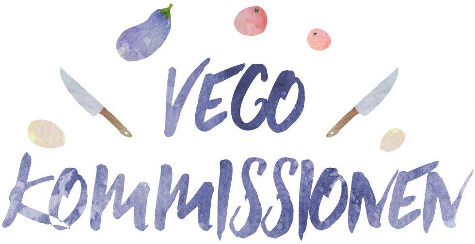 Vegokommissionens logga, versaler i blått med illustrerade knivar och grönsaker runt