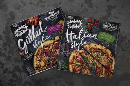 Matförpackning med Oumph!s logo och bild på slicade pizzor