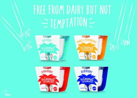"""Illuster bild på fyra förpackningar med kokosträd på, ovanför texten """"Free from dairy but not tempation"""""""