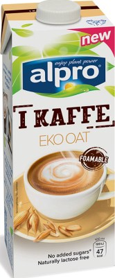 Enliterstetra med Alpros logo och texten I Kaffe