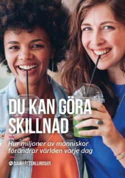 Tidningsframsida med två kvinnor som dricker smoothies, texten DU KAN GÖRA SKILLNAD