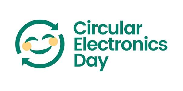 Två pilar bildar en cirkel med ett ansikte i, bredvid texten Circular Electronics Day
