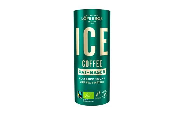 Grön, cylinderformad förpackning med texten ICE coffee i guld
