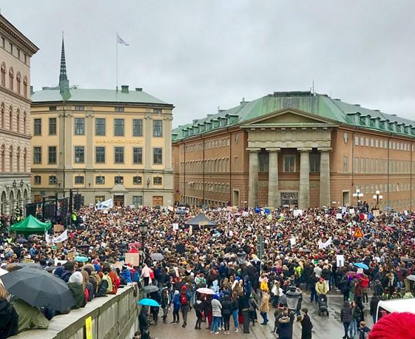 Ett torg fullt med demonstrerande människor med plakat