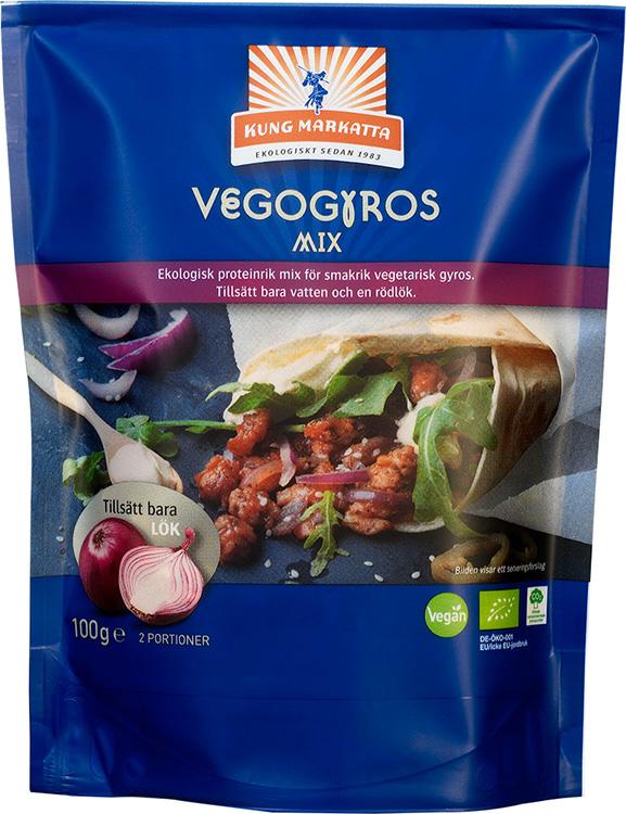 En blå förpackning med texten Vegogyros i vitt