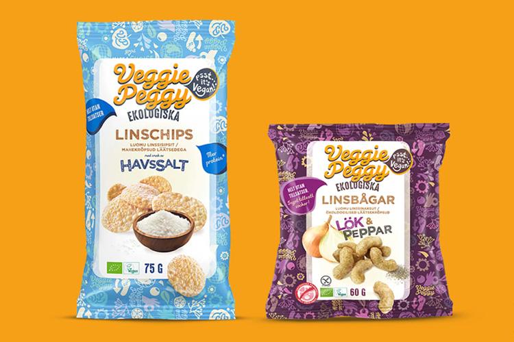 Två snackspåsar med namnet Veggie Peggy
