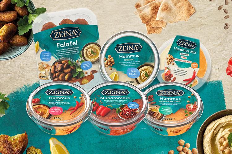 Förpackningar med Zeinas sortiment